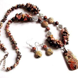 Set rodonit si jasper pietre semipretioase, set cadou femei 37132